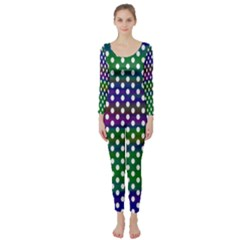 Digital Polka Dots Patterned Background Long Sleeve Catsuit