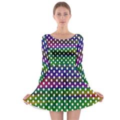 Digital Polka Dots Patterned Background Long Sleeve Skater Dress