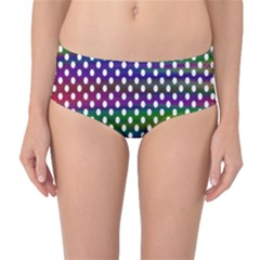 Digital Polka Dots Patterned Background Mid-Waist Bikini Bottoms