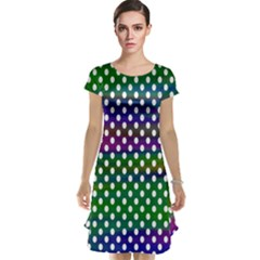 Digital Polka Dots Patterned Background Cap Sleeve Nightdress