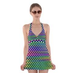 Digital Polka Dots Patterned Background Halter Swimsuit Dress