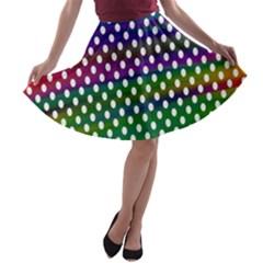 Digital Polka Dots Patterned Background A Line Skater Skirt