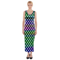Digital Polka Dots Patterned Background Fitted Maxi Dress