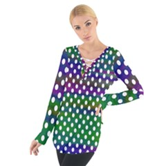 Digital Polka Dots Patterned Background Women s Tie Up Tee