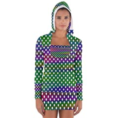 Digital Polka Dots Patterned Background Women s Long Sleeve Hooded T-shirt