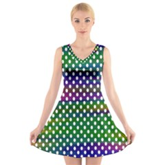 Digital Polka Dots Patterned Background V Neck Sleeveless Skater Dress