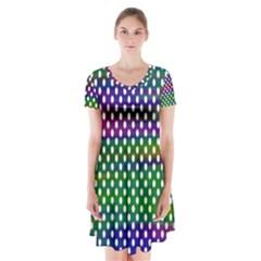 Digital Polka Dots Patterned Background Short Sleeve V-neck Flare Dress