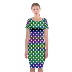 Digital Polka Dots Patterned Background Classic Short Sleeve Midi Dress