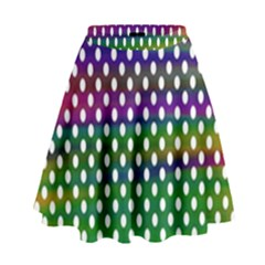 Digital Polka Dots Patterned Background High Waist Skirt