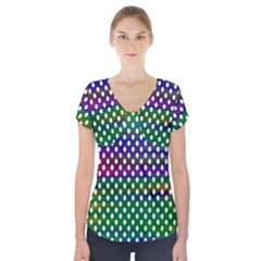 Digital Polka Dots Patterned Background Short Sleeve Front Detail Top