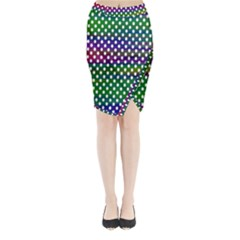 Digital Polka Dots Patterned Background Midi Wrap Pencil Skirt