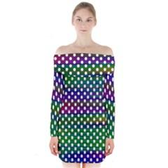 Digital Polka Dots Patterned Background Long Sleeve Off Shoulder Dress