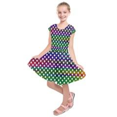 Digital Polka Dots Patterned Background Kids  Short Sleeve Dress