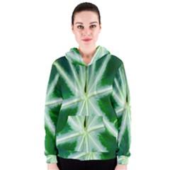Green Leaf Macro Detail Women s Zipper Hoodie