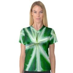 Green Leaf Macro Detail Women s V-Neck Sport Mesh Tee