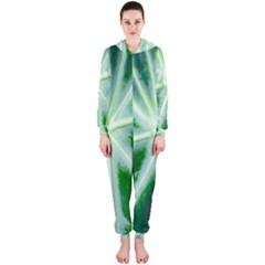 Green Leaf Macro Detail Hooded Jumpsuit (Ladies)