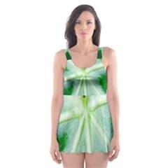 Green Leaf Macro Detail Skater Dress Swimsuit