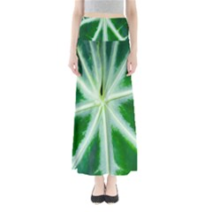 Green Leaf Macro Detail Maxi Skirts