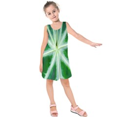 Green Leaf Macro Detail Kids  Sleeveless Dress