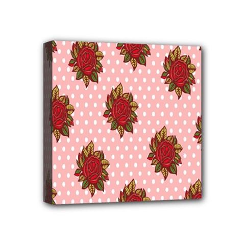 Pink Polka Dot Background With Red Roses Mini Canvas 4  x 4