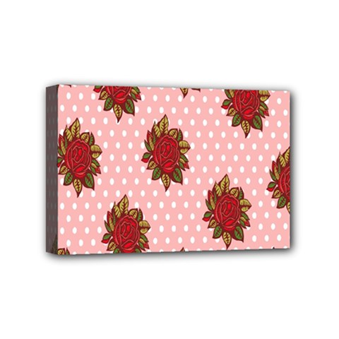 Pink Polka Dot Background With Red Roses Mini Canvas 6  x 4