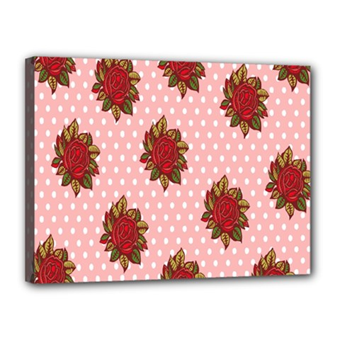 Pink Polka Dot Background With Red Roses Canvas 16  x 12