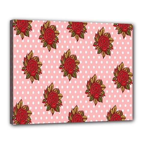 Pink Polka Dot Background With Red Roses Canvas 20  x 16