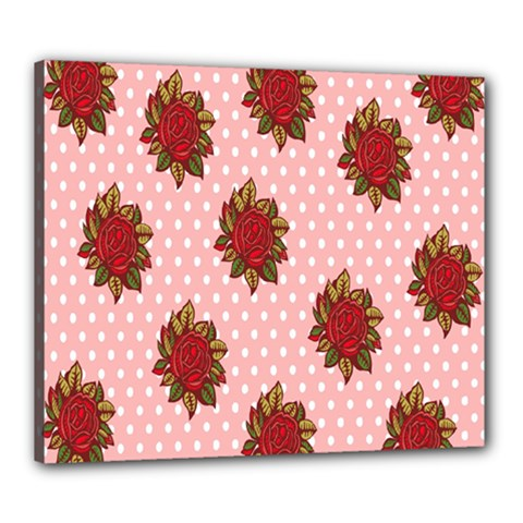 Pink Polka Dot Background With Red Roses Canvas 24  x 20