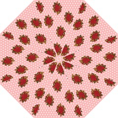 Pink Polka Dot Background With Red Roses Folding Umbrellas