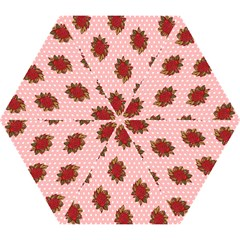 Pink Polka Dot Background With Red Roses Mini Folding Umbrellas