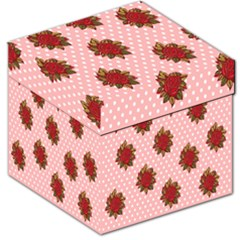 Pink Polka Dot Background With Red Roses Storage Stool 12