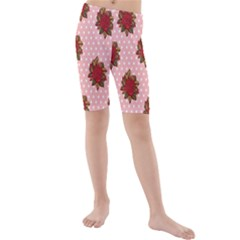 Pink Polka Dot Background With Red Roses Kids  Mid Length Swim Shorts