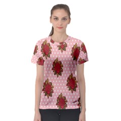 Pink Polka Dot Background With Red Roses Women s Sport Mesh Tee