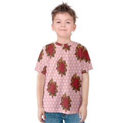Pink Polka Dot Background With Red Roses Kids  Cotton Tee