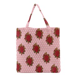 Pink Polka Dot Background With Red Roses Grocery Tote Bag