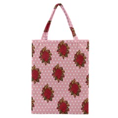 Pink Polka Dot Background With Red Roses Classic Tote Bag
