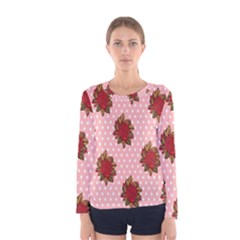 Pink Polka Dot Background With Red Roses Women s Long Sleeve Tee