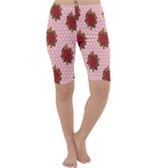 Pink Polka Dot Background With Red Roses Cropped Leggings