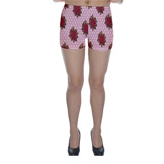 Pink Polka Dot Background With Red Roses Skinny Shorts