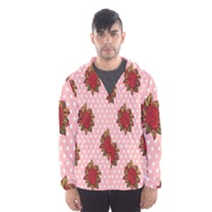 Pink Polka Dot Background With Red Roses Hooded Wind Breaker (Men)