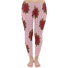 Pink Polka Dot Background With Red Roses Classic Winter Leggings