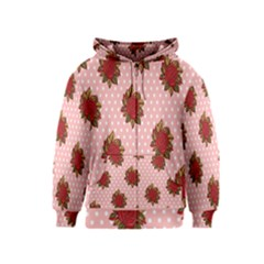 Pink Polka Dot Background With Red Roses Kids  Zipper Hoodie
