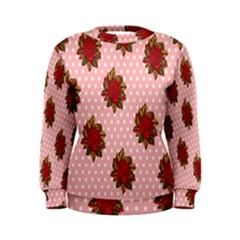 Pink Polka Dot Background With Red Roses Women s Sweatshirt