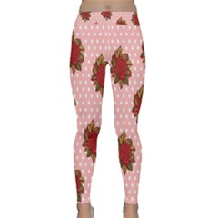 Pink Polka Dot Background With Red Roses Classic Yoga Leggings
