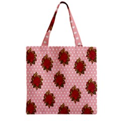 Pink Polka Dot Background With Red Roses Zipper Grocery Tote Bag
