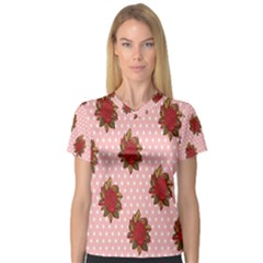 Pink Polka Dot Background With Red Roses Women s V-Neck Sport Mesh Tee