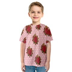 Pink Polka Dot Background With Red Roses Kids  Sport Mesh Tee