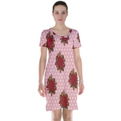 Pink Polka Dot Background With Red Roses Short Sleeve Nightdress
