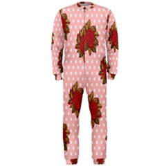 Pink Polka Dot Background With Red Roses OnePiece Jumpsuit (Men)