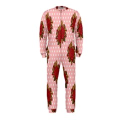 Pink Polka Dot Background With Red Roses Onepiece Jumpsuit (kids)